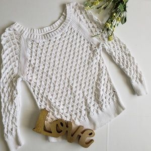 .American Eagle. Open knit white sweater